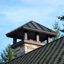 Chimney cap examples – all designs possible - copper, stainless steel or painted metal.